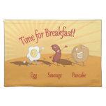 Breakfast egg sausage and pancake napkin placemats