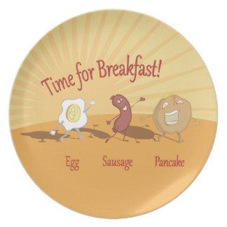 Breakfast egg sausage and pancake plate