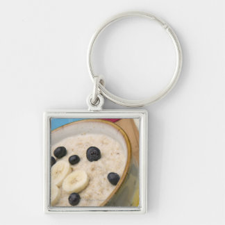 Breakfast food Silver-Colored square keychain