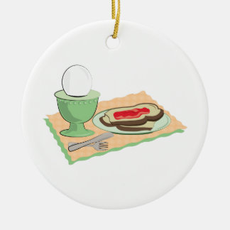 Breakfast Foods Double-Sided Ceramic Round Christmas Ornament