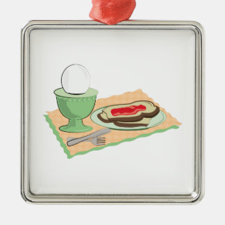 Breakfast Foods Square Metal Christmas Ornament