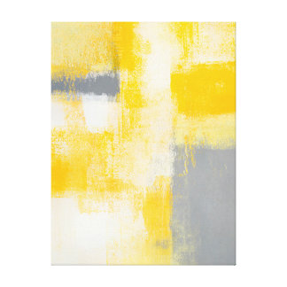 'Breakfast' Grey and Yellow Abstract Art Canvas Print