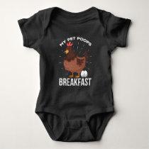Breakfast Humor Chicken Poops Eggs Funny Farming Baby Bodysuit