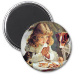 Breakfast in Bed: Girl, Terrier and Kitty Cat 2 Inch Round Magnet