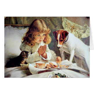 Breakfast in Bed: Girl, Terrier and Kitty Cat Greeting Card