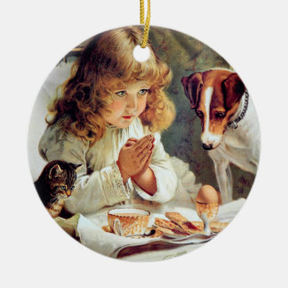 Breakfast in Bed: Girl, Terrier and Kitty Cat Ceramic Ornament