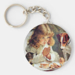 Breakfast in Bed: Girl, Terrier and Kitty Cat Key Chain