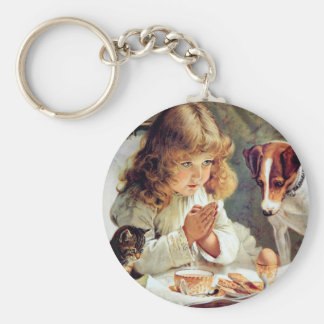 Breakfast in Bed: Girl, Terrier and Kitty Cat Keychain