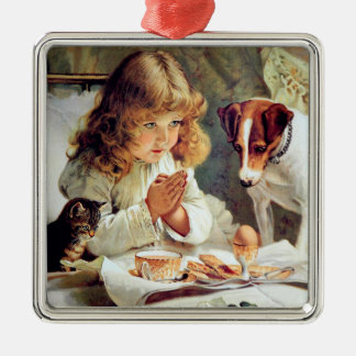 Breakfast in Bed: Girl, Terrier and Kitty Cat Metal Ornament