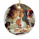 Breakfast in Bed: Girl, Terrier and Kitty Cat Christmas Tree Ornaments