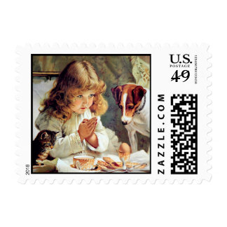 Breakfast in Bed: Girl, Terrier and Kitty Cat Postage