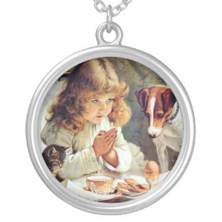 Breakfast in Bed: Girl, Terrier and Kitty Cat Round Pendant Necklace