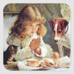 Breakfast in Bed: Girl, Terrier and Kitty Cat Square Sticker