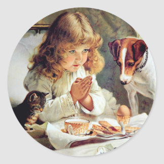 Breakfast in Bed: Girl, Terrier and Kitty Cat Classic Round Sticker
