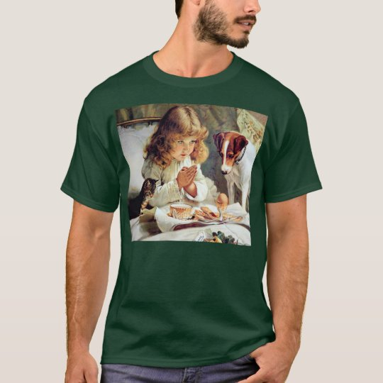 Breakfast in Bed: Girl, Terrier and Kitty Cat T-Shirt