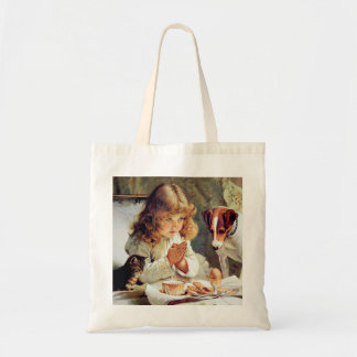 Breakfast in Bed: Girl, Terrier and Kitty Cat Tote Bag