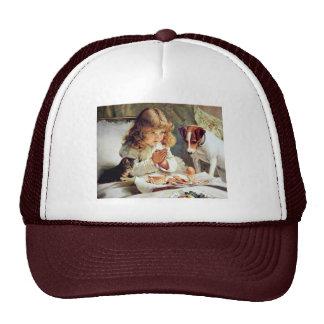 Breakfast in Bed: Girl, Terrier and Kitty Cat Trucker Hat