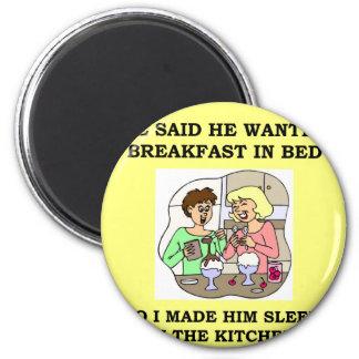 breakfast in bed refrigerator magnet