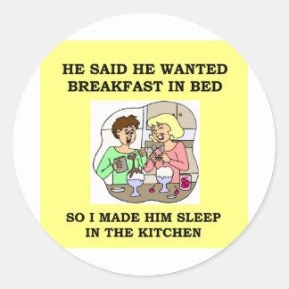 breakfast in bed round stickers