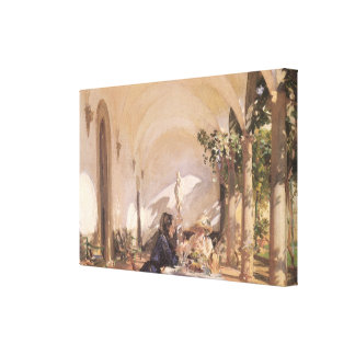 Breakfast in Loggia by Sargent, Vintage Victorian Canvas Print