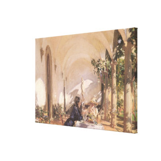 Breakfast in Loggia by Sargent, Vintage Victorian Canvas Print