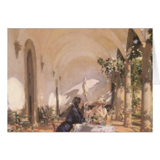 Breakfast in Loggia by Sargent, Vintage Victorian Card