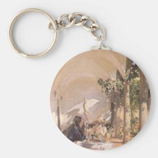 Breakfast in Loggia by Sargent, Vintage Victorian Keychain