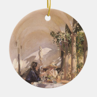 Breakfast in Loggia by Sargent, Vintage Victorian Double-Sided Ceramic Round Christmas Ornament