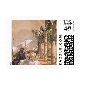 Breakfast in Loggia by Sargent, Vintage Victorian Postage Stamp