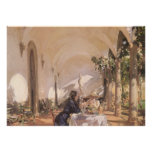 Breakfast in Loggia by Sargent, Vintage Victorian Posters