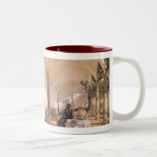 Breakfast in Loggia by Sargent, Vintage Victorian Two-Tone Coffee Mug