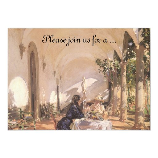 """Breakfast in the Loggia by Sargent, Bridal Shower 5"""" X 7"""" Invitation Card"""