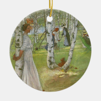 Breakfast in the Open by Carl Larsson Double-Sided Ceramic Round Christmas Ornament