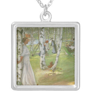 Breakfast in the Open by Carl Larsson Silver Plated Necklace