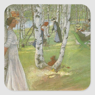 Breakfast in the Open by Carl Larsson Square Sticker