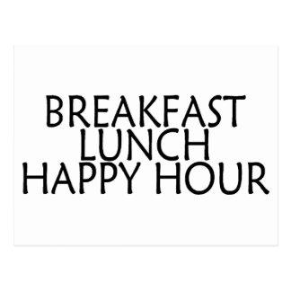 Breakfast Lunch Happy Hour Postcard