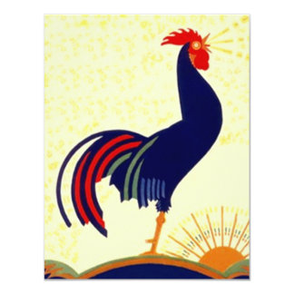 "Breakfast meet-up Social Rooster Party Invitation 4.25"" X 5.5"" Invitation Card"