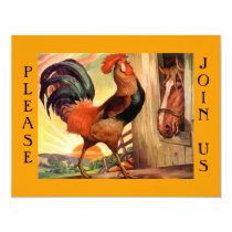 Breakfast meet-up Social Rooster Party Invitation