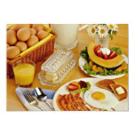 """Breakfast of bacon, eggs and pitcher of milk  flow 5"""" x 7"""" invitation card"""