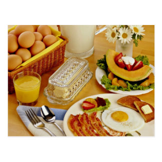 Breakfast of bacon, eggs and pitcher of milk  flow postcard