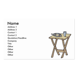 breakfast on a snack tray table business card