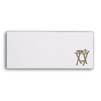 breakfast on a snack tray table envelopes