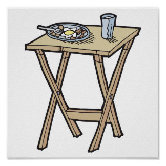 breakfast on a snack tray table print