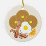 Breakfast Ornament- Waffles, Bacon and Egg Double-Sided Ceramic Round Christmas Ornament