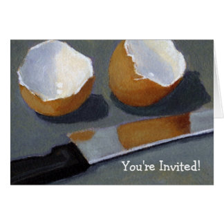 BREAKFAST PARTY: Egg shells artwork, realism Card