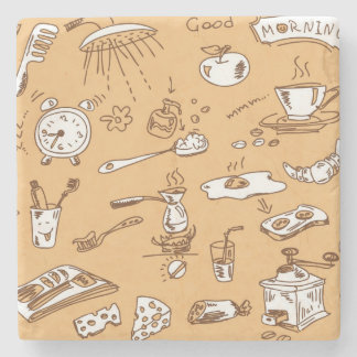 Breakfast Pattern 2 Stone Coaster