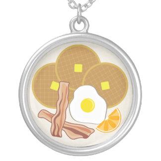 Breakfast Plate Necklace - Waffles, Bacon & Egg