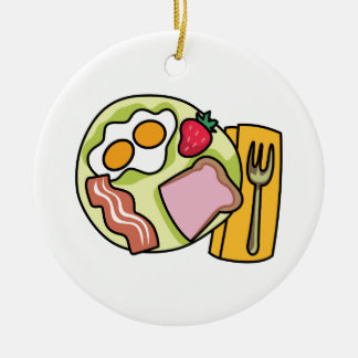 BREAKFAST PLATE Double-Sided CERAMIC ROUND CHRISTMAS ORNAMENT