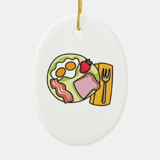 BREAKFAST PLATE Double-Sided OVAL CERAMIC CHRISTMAS ORNAMENT