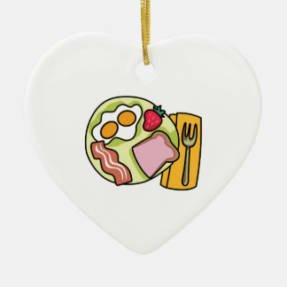 BREAKFAST PLATE Double-Sided HEART CERAMIC CHRISTMAS ORNAMENT